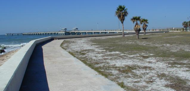 reinforced shoreline leading to the fort pier