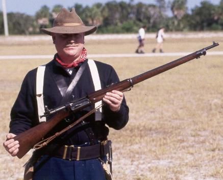 Krag rifle, model 1898 standard weapon for the U.S. infantry.