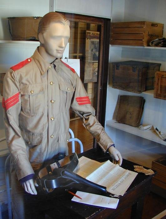 Quartermaster greets visitors to the museum.